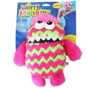 Children's Kids Worry Monster Soft Plush Toy With Zip Up Mouth Eats Worry Notes Sleep Companion Fluffy Fur With Troll Hair pink & green
