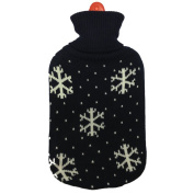 Black Knitted Water Bottle Cover With Orange & White Diamond Design & Collar