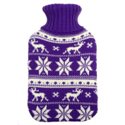 Purple Christmas Reindeer & Snow Knitted Water Bottle Cover