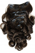 PRETTYSHOP XL 7 pcs full Head Set Clip In Hair Extensions Hairpiece Wavy Heat-Resisting Brown # 8 CE6-1