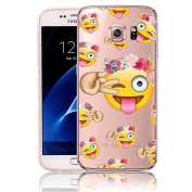 Vandot Soft TPU Silicone Case for Samsung Galaxy S6 G9200 SM-G920F Ultra Slim Thin Transparent Clear Cover Perfect Fit Protection Case Premium Scratch-Resistant Back Pattern-Emoji Wreath Naughty Girl