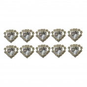 Jewellery of Lords 10 Clear Heart Shaped Large Coloured Crystal Hair Pin with Clear Mounted Crystals Hairpin by Jewellery of Lords