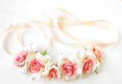 Blush Pink Cream Rose Belt Bridesmaid Bridal Sash Floral Flower Rockabilly 1055 *EXCLUSIVELY SOLD BY STARCROSSED BEAUTY*