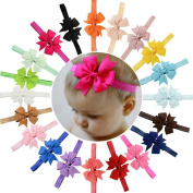20Pcs Baby Girls Headbands Grosgrain Ribbon Boutique Hair Bow for Girls Teens Toddlers
