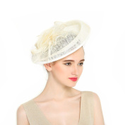 VKFashion Sinamay Wedding Fascinator Hats Bridal Cocktail Hats with Feather For races/church/wedding/party Colour Ivory