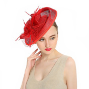 VKFashion Sinamay Wedding Fascinator Hats Bridal Cocktail Hats with Feather For races/church/wedding/party Colour Red