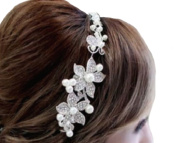 White Flower with Rhinestones and Pearls Hair Hair Accessories Wedding Jewellery
