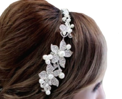 White Flower with Rhinestones and Pearls Hair Hair Accessories Wedding Jewellery: Cascade