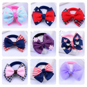 Cuhair 10pcs Children Elastic ribbon bow Hair Bands tie rubber Rope Ponytail Holder Kids fabric flowers Baby Girls toddler teens Hair Accessories Scrunchie