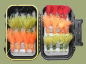 24 Hothead Trout Fishing Flies Red Double Beads and Lime Double Beads Size 10 - Boxed Set