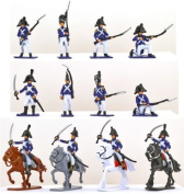 Plastic Toy Soldiers Napoleonic French Infantry Battle of Waterloo Painted Set 1/32 Scale 16 Pieces