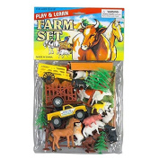 Play and Learn Farm Toy Animals Set, Horse and Cart, Truck ,Trees, 108/9802