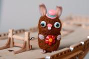 Handmade felted wool miniature toy rabbit