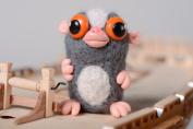 Homemade wool felted miniature toy Lemur