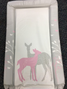 Deluxe Unisex Baby Waterproof Changing Mat with Raised Edges - Unique Pink Forest Deer Design