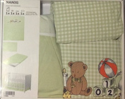 (4) Piece Baby's Crib Linen Gift Set ~ (1) Pale Green and White Gingham Duvet Featuring Teddy Bear, Monkey, Books, & Toys in the Design (1) Pale Green Crib Sheet, (1) Matching Gingham Pillowcase & (1) Pale Green Solid Crib Skirt