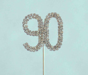 Diamante Cake Topper Double Number 90 on Long Pick