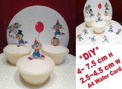 Clowns Party 1 SET CAKE PARTY STANDS UP TOPPERS EDIBLE WAFER CARD x20 PIECES ima 3