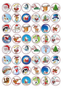 48 x Christmas Icons Party Edible Rice Wafer Paper Cup Cake Toppers IMAGE 12