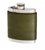 180ml Racing Green Leather Captive Top Flask