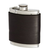 180ml Black Raven Leather Captive Top Flask