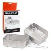 2 Piece Mess Tin Set Aluminium Folding Lightweight Camping Hiking Festivals Fishing by The Home Fusion Company