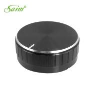 Saim Replacement 48mm x 18mm PU Interior Black Aluminium Knob for Amplifier