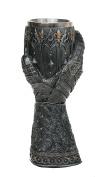 Mediaeval Knight Lions Heart Gauntlet Style Wine Goblet 23cm H