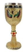 Egyptian Collectible Magical Goddess Of Wisdom Isis With Open Wings 180ml Resin Wine Goblet Chalice With Stainless Steel Liner 18cm H