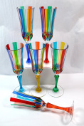 Authentic Italian Champagne Glasses, Swatch, Murano Glass Set of 6