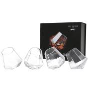 Diamond Shape Tilting Whisky Liquor Snifter (300ml), Scotch Rocking Tumbler Glasses, Set of 4