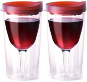 Vino2Go Double Wall Acrylic Tumbler with Double Red Merlot Lids, 300ml, Pack of 2