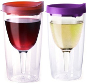 Vino2Go Double Wall Acrylic Tumbler with Red Merlot and Purple Lids, 300ml, Pack of 2