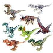 IROCH 8pcs ABS Jurassic World Dinos Toy Jurassic Park Dinosaur Building Blocks Miniature Action Figures