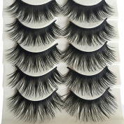 Bluelans® 5 Pairs Natural Long Fake Eye Lashes Thick False Eyelashes Black Makeup Tool