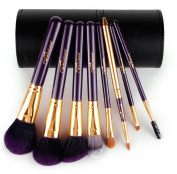 8PCS Makeup Brushes Set Soft Synthetic Hair Solid Wood Handle Professional Cosmetic Brushes With Luxury PU Leather Cylinder Best Gift For Your Love (Collection' Edition)