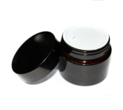 2PCS 100ML/100G Brown Glass Refillable Cosmetic Jars with Liners and Screw Black Cap Empty Face Cream Lip Balm Storage Container Pot Bottle for Salve Diy Beauty Essential Oils Cosmetic Cream Lotion