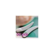 Arpoador 50pcs White Mini Cosmetic Spatula Scoop Disposable Mask Spatula plastic Spoon
