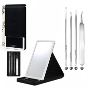 1Set(4PCS)Stainless Steel Tweezers-- Silver Blackhead Needle Kit Acne Extractor Tool Set Fat Granule Removal Kit With Cotton Swabs Case And Mirrors for Zits Pimples Whiteheads Comedones