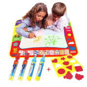 Magic doodle Mat/Water Drawing Painting Mat(80cm x 60cm )with 4 Colour,CJbrother Water Drawing Mat Child Painting Play Learning Magic Water Doodle Painting Pen With 4 Doodle Painting Pens and 1 EVA Graphic