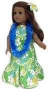 18 Doll Clothes Fits American Girl Doll Hawaiian Dress, Lei, & Hair Clip-Green by Dori's Boutique