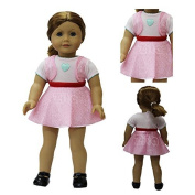 ZITA ELEMENT Doll Clothes -Little Heart Pink Dress fits for American's Girl Doll, My Life Doll, Our Generation and other 46cm Dolls by ZITA ELEMENT