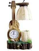 SSBY The Violin With Clock Pen Container Craft Lamp