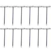 100 PCS 0.9 x 32mm T Pin Needle Wig Hair Piece Fixing Hair Weaving Making Pin Needle Tools