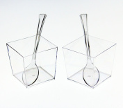 Exquisite Clear Plastic Mini Square Mousse Dessert Cups With Tasting Spoons 48 Ct - 110ml