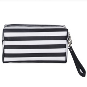 SZTARA Handy Travel Cosmetic Pouch Portable Makeup Storage Bag Waterproof Strip Pattern Wash Bags With Zipper and Hand
