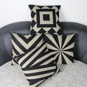 Luxbon Set of 4 Geometric Pattern Pillo Baby Black and Beige Linen 'Waist Throw Pillow Case Sofa Cushion Cover Case Sofa Chair Car House Decorative 45 x 45 cm