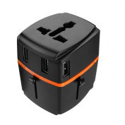 Urbo International Adapter with Detachable Design and 4 USB Ports + Retractable Prongs for Power Sockets in More Than 100 Countries across Europe, Asia, Americas, Africa, Oceania