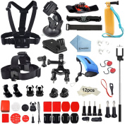 Rhodesy RH032 Accessories Set 60 in 1 Mounts Bundle for GoPro Hero5 Session Hero4 Session Hero 4 and SJ5000 Series