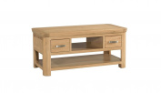 Crescent Curve Solid Oak 2 Drawer Coffee Table / Contemporary Coffee Table Fully Assembled